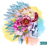 Ethnic skull. Beautiful vector illustration with watercolor ethnic skull