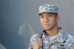 Ethnic soldier having a Happy veterans day royalty free stock photography
