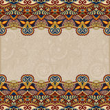 Ethnic stripe ornament on floral background Royalty Free Stock Images