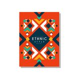 Ethnic style abstract original card, ethno tribal geometric design ornament, trendy pattern element for business card. Logo, invitation, flyer, poster, banner Stock Images