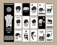 Ethnic style cards with elephants for your design Stock Image
