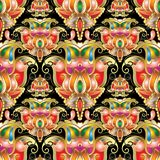 Ethnic style colorful paisley seamless pattern. Beautiful orname. Ntal bright floral background. Patterned design with elegance paisley flowers. Amazing abstract Stock Photos