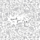 Ethnic style floral thank you card Stock Photo