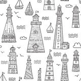 Ethnic style lighthouses with ornaments seamless pattern Stock Photo