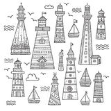 Ethnic style lighthouses with ornaments set. Royalty Free Stock Images