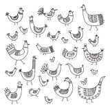 Ethnic style linear birds set Royalty Free Stock Images