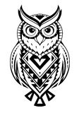Ethnic style owl tattoo. Owl tattoo shape with ethnic elements Stock Photos