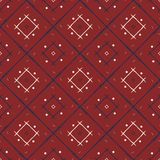Ethnic style Red, white and blue tile pattern. Geometric line an Stock Photo
