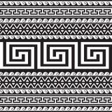 Ethnic style tribal greek borders seamless pattern. Black and white geometric striped background. greek key meanders ancient. Ornament. Geometrical ornamental stock illustration