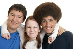 Ethnic teen friends. Three teens of different ethnic backgrounds smiling stock photography