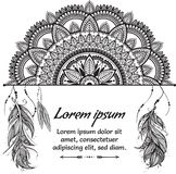 Ethnic boho template with black and white mandala, feathers and text place on white background. royalty free stock photo