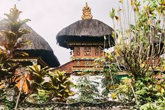 Ethnic temple in Bali. Close up. stock photo
