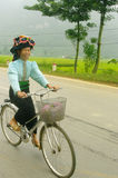 Ethnic Thai woman cycling Royalty Free Stock Images