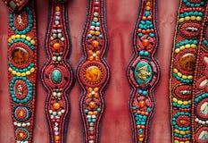 Ethnic Tibetan belts. At market near Swayambhunath stupe, Nepal stock images