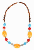 Ethnic Tibetan necklace with amber Royalty Free Stock Images