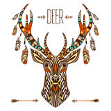 Ethnic totem of a deer. A tattoo of a deer with an ornament. Use for print, posters, t-shirts, tattoo. Stock Images