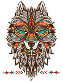 Ethnic totem of a wolf. Indian wolf. A tattoo of a wolf with an ornament. Hand Drawn  illustration Stock Photos