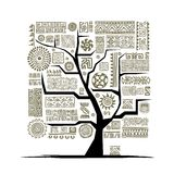 Ethnic tree with handmade ornament for your design Stock Photography