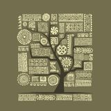 Ethnic tree with handmade ornament for your design Royalty Free Stock Photos