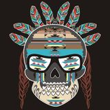 Ethnic tribal decor skull skeleton style boho with feathers and abstract patterns  Stock Photo