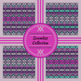 Ethnic tribal geometric pattern. 4 variants of color with swatches inside Stock Photography