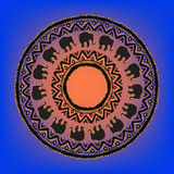 Ethnic  tribal   mandala with elephants Stock Photos