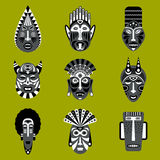 Ethnic tribal mask icons set Royalty Free Stock Photo