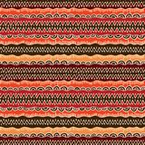 Ethnic tribal seamless vector pattern. Geometric indian ornament background in colors of brown, red and orange Royalty Free Stock Images