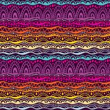 Ethnic tribal seamless vector pattern. Hand drawn geometric ornament background in colors of purple, pink and orange royalty free stock photography