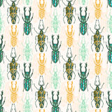 Ethnic tribal seamless pattern with insects. Vector hipster print. Fashion fabric design Stock Image