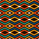 Ethnic and tribal bright seamless surface pattern with rhombuses and lines. Diamonds motif. Repeated geometric figures. Ethnic and tribal style bright seamless Stock Images