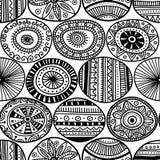Ethnic tribal style circles seamless pattern Stock Photos