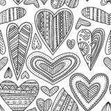 Ethnic tribal style ornamental hearts vector seamless pattern Stock Image