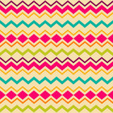 Ethnic tribal zig zag seamless pattern. Ethnic tribal zig zag and rhombus seamless pattern. Vector illustration for beauty fashion design. Blue, orange, pink and Royalty Free Stock Photo