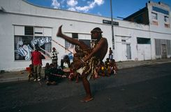 An ethnic tribe performing in Johannesburg Stock Image