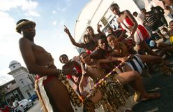 An ethnic tribe performing in Johannesburg Royalty Free Stock Images