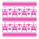 Ethnic Ukraine cross stitch pattern with angels, hearts. Royalty Free Stock Image