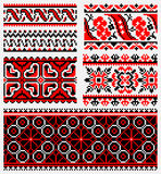 Ethnic urkaine embroidery set. Ethnic patterns for embroidery traditional stitch in red and black Stock Image