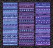 Ethnic various strip set motifs in violet colors. Geometric stripe pattern vector wallpaper. editable illustration Stock Images
