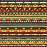 Ethnic vector illustration handmade. Tribal motives.. Yellow, orange, brown, blue and burgundy colors. Striped pattern Stock Image