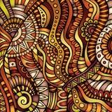 Ethnic vector pattern. Decorative orange ornamental ethnic vector pattern background Stock Image