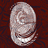 Ethnic vector white Pattern with Snakes on red Background Stock Photos