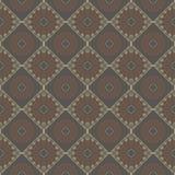 Ethnic vintage abstract seamless geometric vector pattern. Ethnic vintage abstract seamless geometric pattern. Beige rhombuses and orange flowers on brown stock illustration