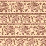 Ethnic vintage elephant seamless Stock Image