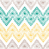 Ethnic vintage ornament. Horizontal stripes. Old background. Handmade. Gray, yellow, green zigzag on a white background Stock Images