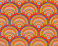 Ethnic wallpaper pattern. Ethnic seamless wallpaper pattern with fans and flowers Royalty Free Stock Photography