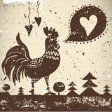 Ethnic wallpaper with a rooster Stock Photos
