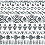Ethnic watercolor seamless pattern. Fashion aztec geometric background. Hand drawn monochrome pattern. Modern abstract wallpaper. Vector illustration Stock Images