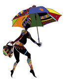 Ethnic woman. Woman in ethnic style with an umbrella and a bag on a white background Royalty Free Stock Photo