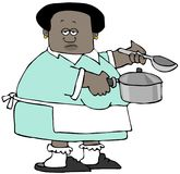 Ethnic woman holding a soup pot and a ladle. Stock Photo